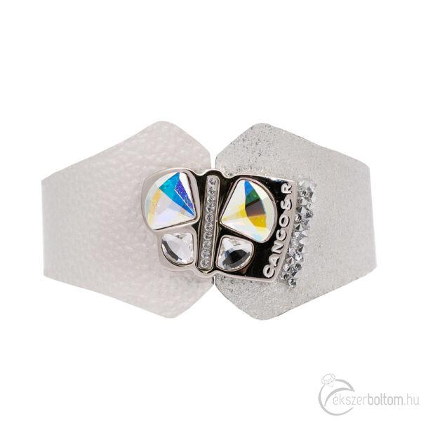 Cango & Rinaldi Secret Garden ezüst színű, kétféle mintás bőr karkötő nagy pillangós kristály díszes rátéttel és kis kövekkel