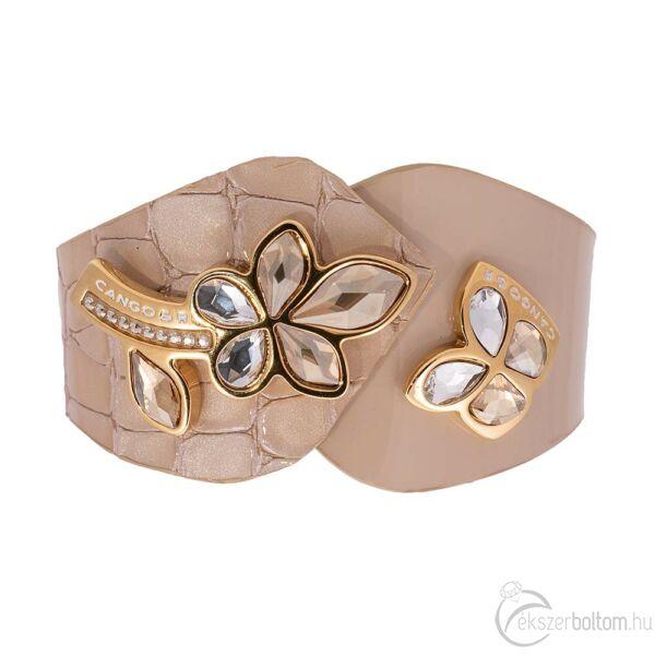 Cango & Rinaldi Secret Garden bézs színű, piton és matt mintás bőr karkötő virág és pillangó alakú kristály díszes rátéttel