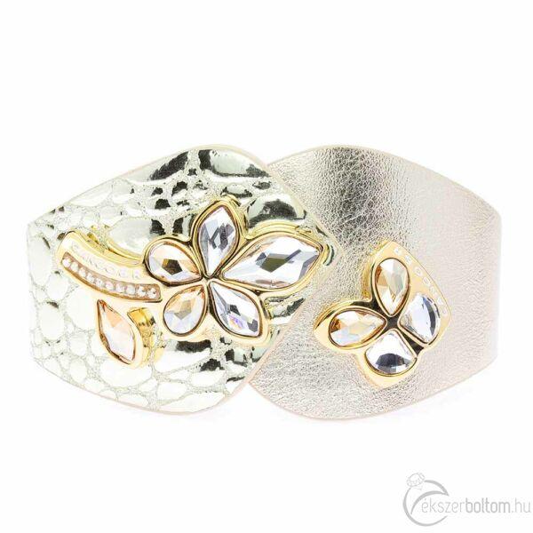 Cango & Rinaldi SECRET GARDEN mintás arany színű karkötő aranyszín virágos-pillangós dísszel