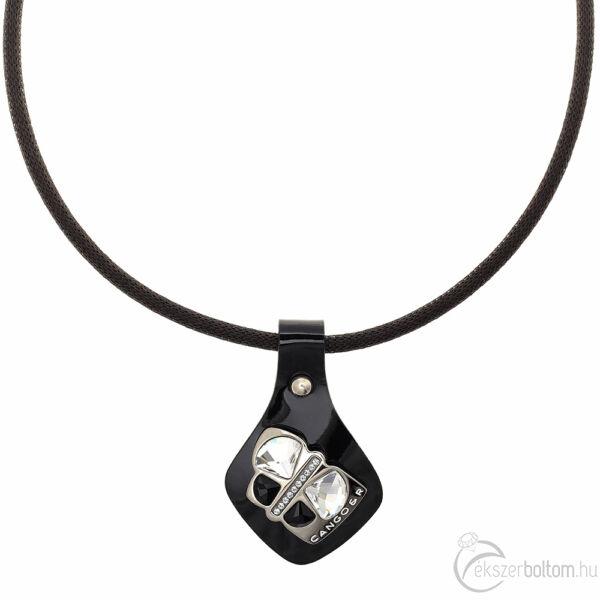 Cango & Rinaldi Secret Garden fekete lakkbőr nyaklánc nikkel színű, pillangó alakú dísszel