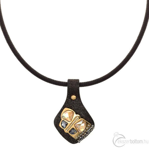 Cango & Rinaldi Secret Garden fekete bőr nyaklánc arany színű, pillangó alakú dísszel, arany színű kis kövekkel