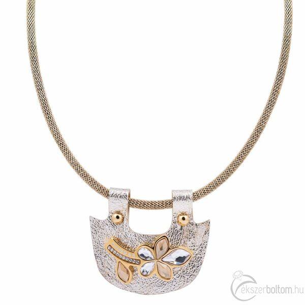Cango & Rinaldi Secret Garden matt arany bőr nyaklánc arany színű pektorál medállal, virág alakú dísszel