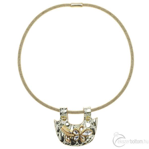 Cango & Rinaldi Secret Garden arany piton bőr nyaklánc arany színű pektorál medállal, virág alakú dísszel