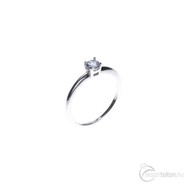 Fehér arany szoliter gyűrű négykarmos, alacsonyabb foglalattal