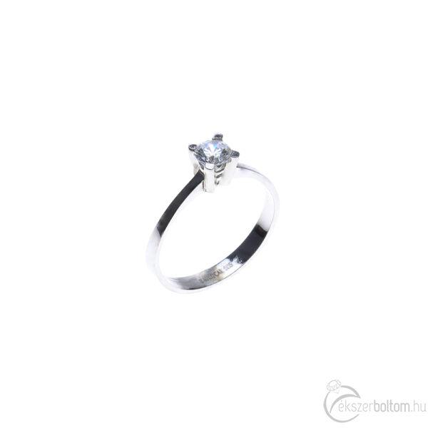 Fehér arany szoliter gyűrű emelt négykarmos foglalattal