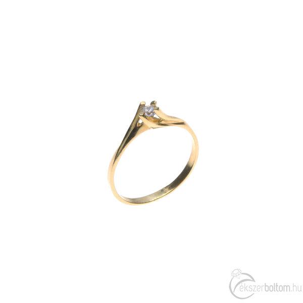 """""""Twist"""" sárga arany szoliter gyűrű csavart négykarmos foglalattal"""