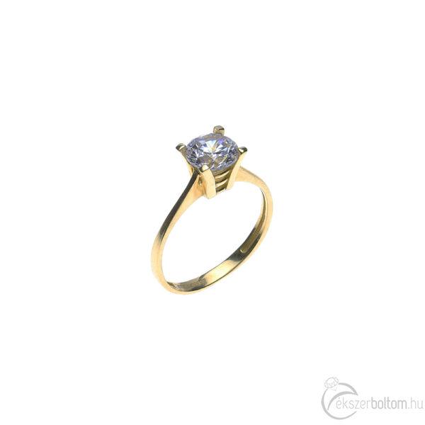 Sárga arany szoliter gyűrű emelt négykarmos foglalattal