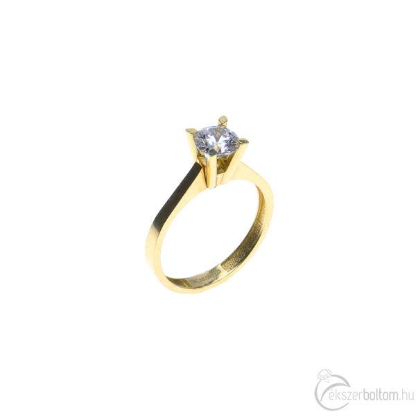 Sárga arany szoliter gyűrű egyszerű, emelt négykarmos foglalattal