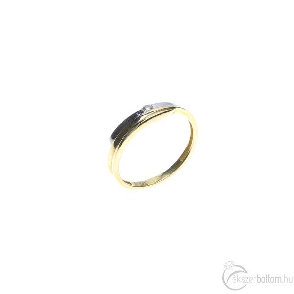 Sárga-fehér arany szoliter gyűrű süllyesztett foglalattal