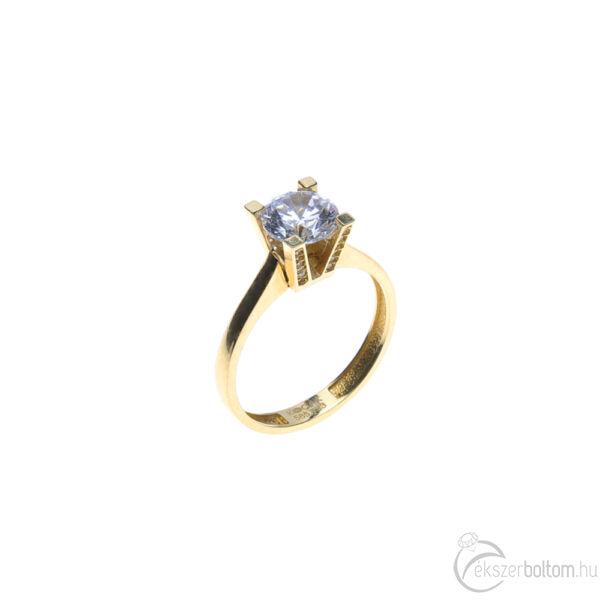 Sárga arany szoliter gyűrű, cirkóniaköves magas foglalatba foglalt cirkónia kővel
