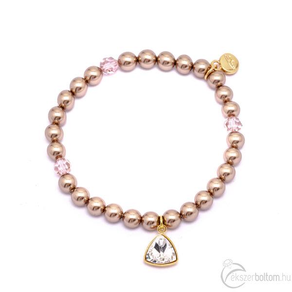 Cango & Rinadli Triangle Lucky Gold gyöngyös karkötő fehér kövekkel és aranyszín fémdísszel