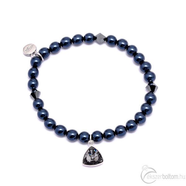 Cango & Rinadli Triangle Night Blue gyöngyös karkötő Black Diamond (fekete gyémánt) kövekkel és ezüstszín fémdísszel