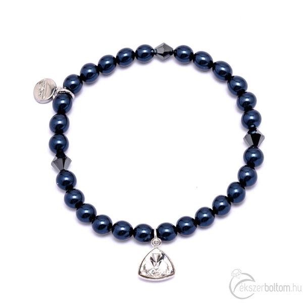 Cango & Rinadli Triangle Night Blue gyöngyös karkötő kristály (fehér) kövekkel és ezüstszín fémdísszel