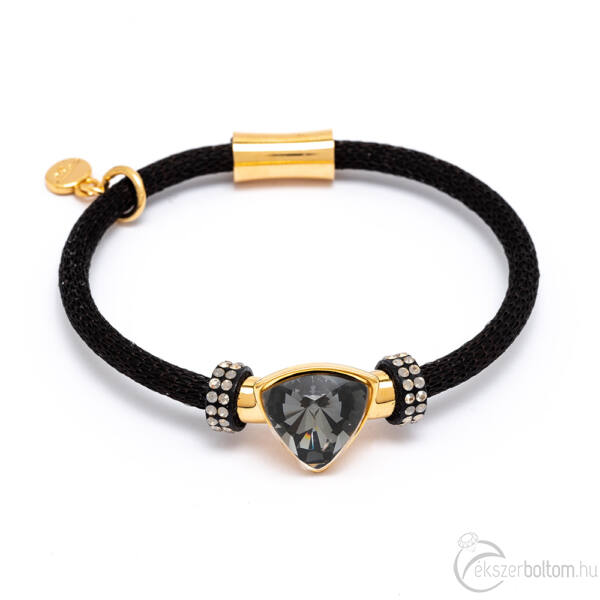 Cango & Rinaldi Triangle Mesh 3 fekete színű karkötő aranyszín fém dísszel és Black Diamond-fehér kristály kővel