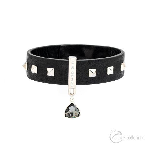 Cango & Rinaldi Triangle bőr karkötő szegecses mintával, ezüst fém résszel és Black Diamond kristállyal