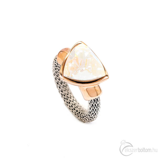 Cango & Rinaldi Triangle Mesh ezüst és rozéarany színű gyűrű közepes AB kővel
