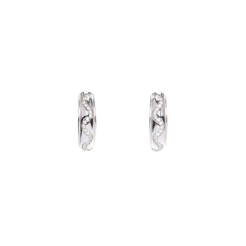 Ródiumozott franciazáras hullám mintás ezüst fülbevaló