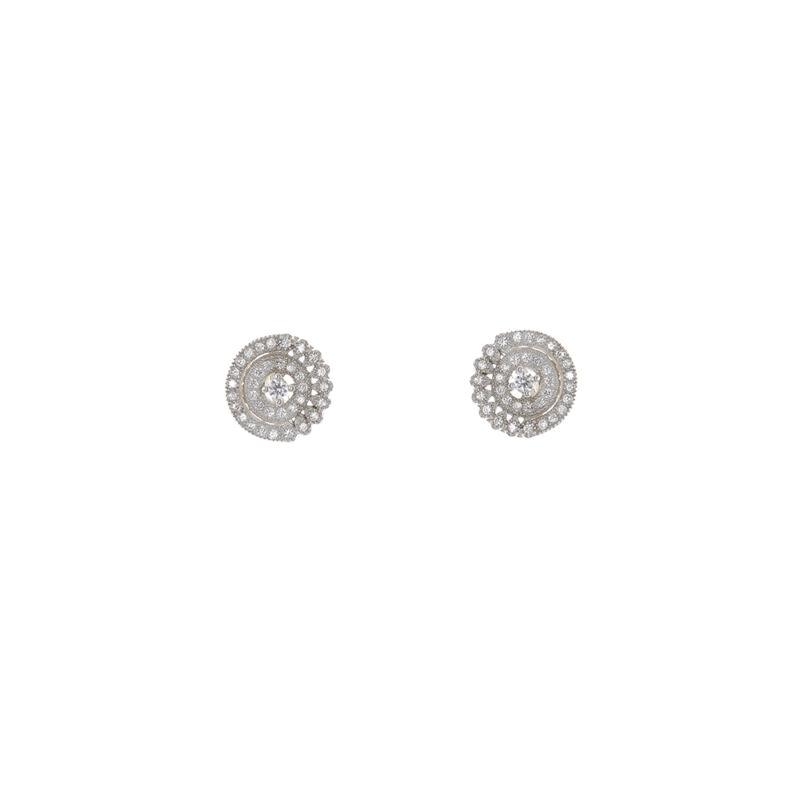 C-Stella mikrofolgalt sokköves, ródiumozott ezüst fülbevaló