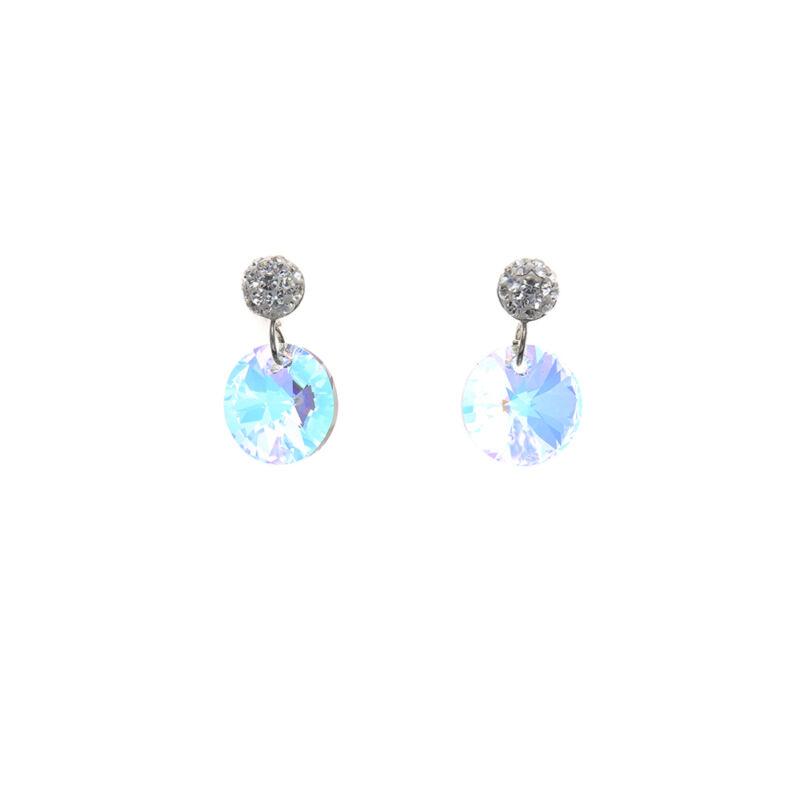 Aurora Borealis kerek kristályos ezüst fülbevaló