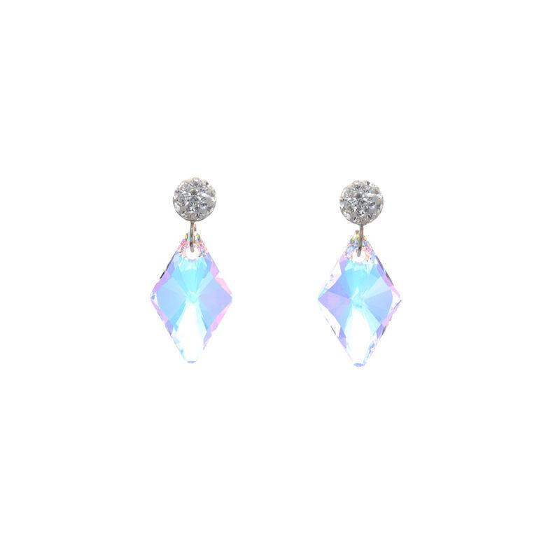 Aurora Borealis rombusz kristályos ezüst fülbevaló