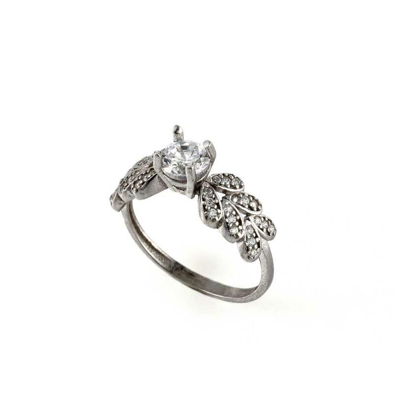 Levélmintás szoliter ezüst gyűrű