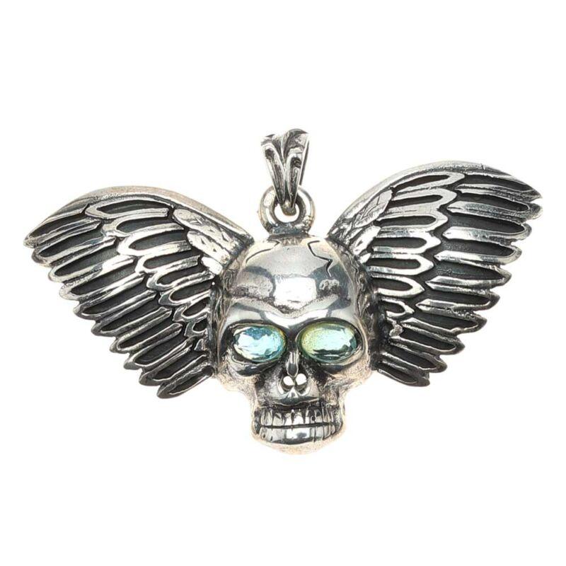 Antikolt ezüst szárnyas koponya medál akvamarin színű cirkónia szemmel