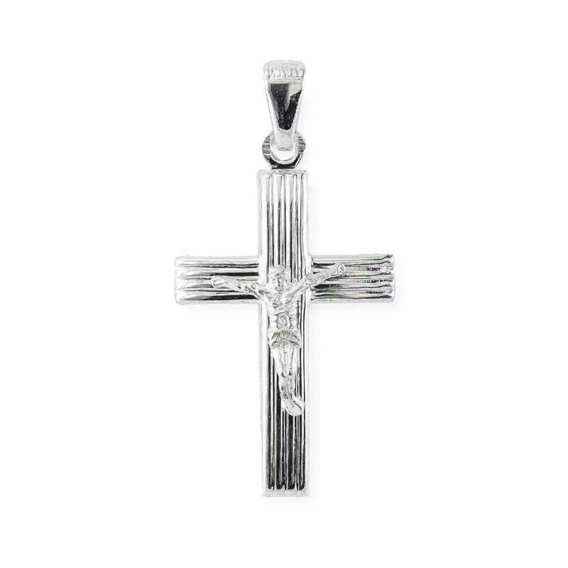 Bordázott ezüst feszület medál