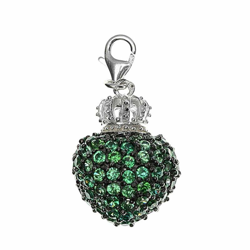 Zöld kristályos ezüst szív medál
