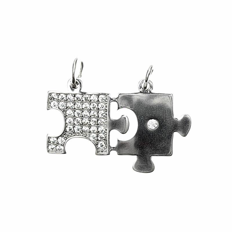 Sokköves, mikrofoglalt, törhető ezüst puzzle medál