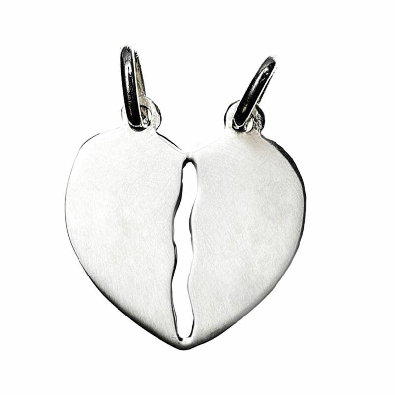 Nagyobb méretű, ezüst törhető szív medál
