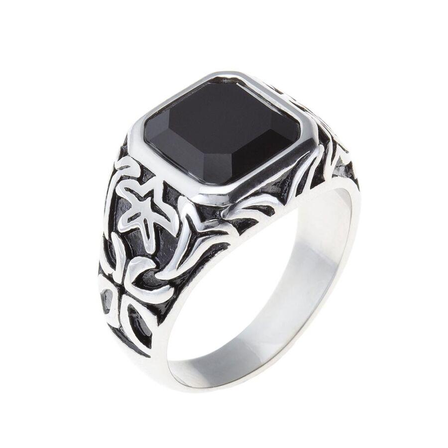 Fekete köves férfi pecsétgyűrű egyenes oldalú négyzetes kővel, #62-es méret