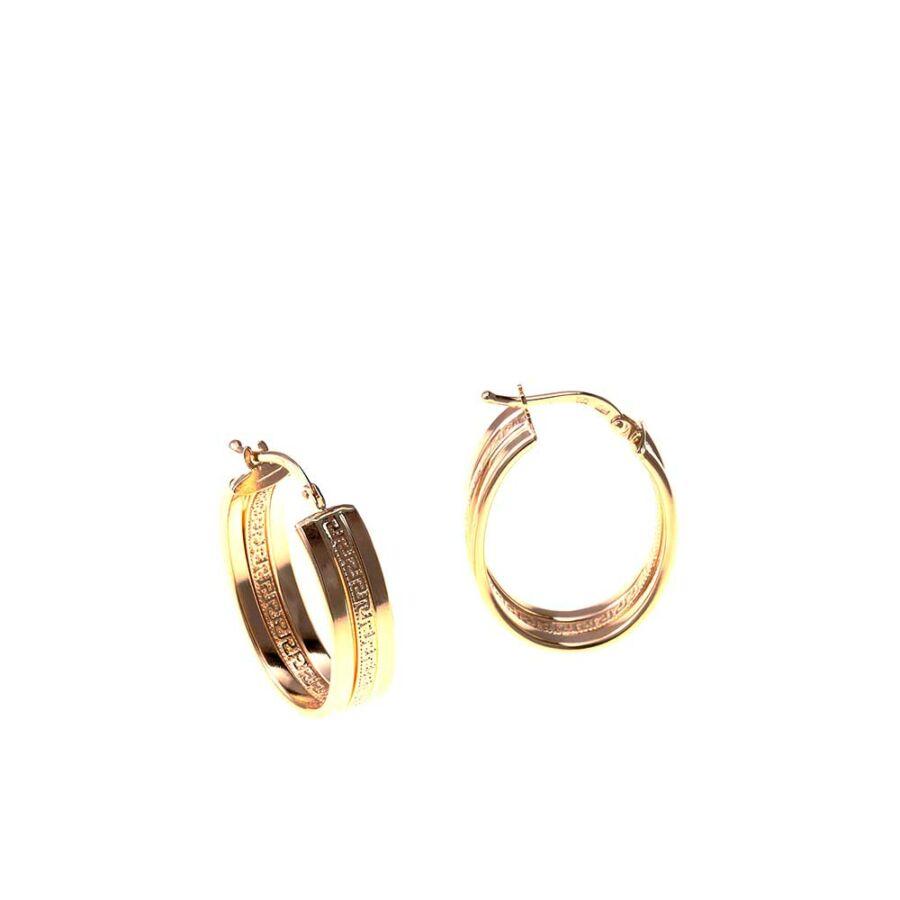 Görögmintás ovális karika 14 karátos arany fülbevaló