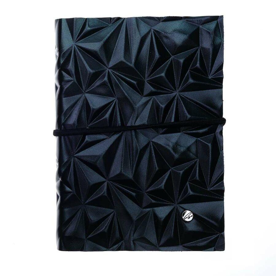 Cango & Rinaldi fekete Ashton mintás bőr kötésű jegyzetfüzet