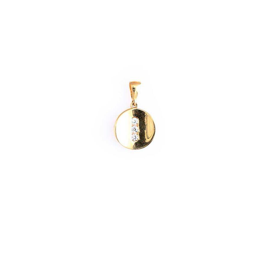 Sárga 14 karátos arany korong medál három kővel