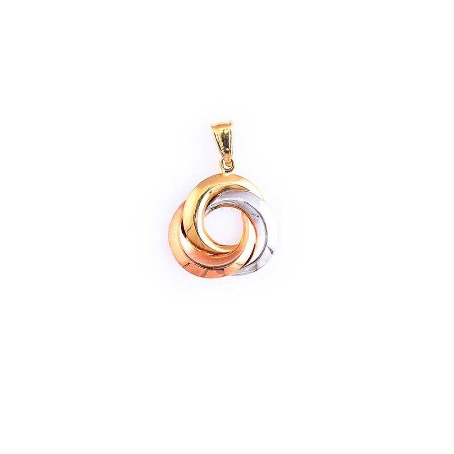 Három színű 14 karátos arany köríves medál