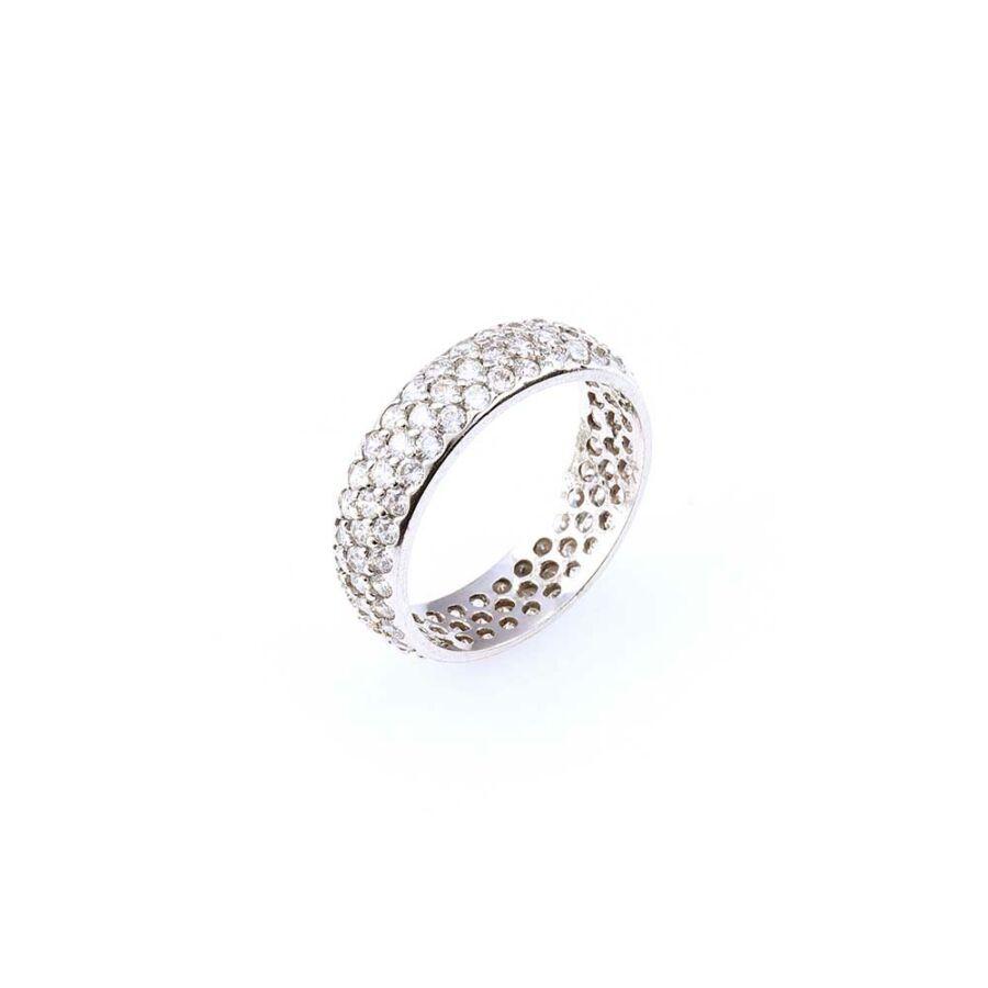Domború, háromsoros, körben köves fehér arany gyűrű