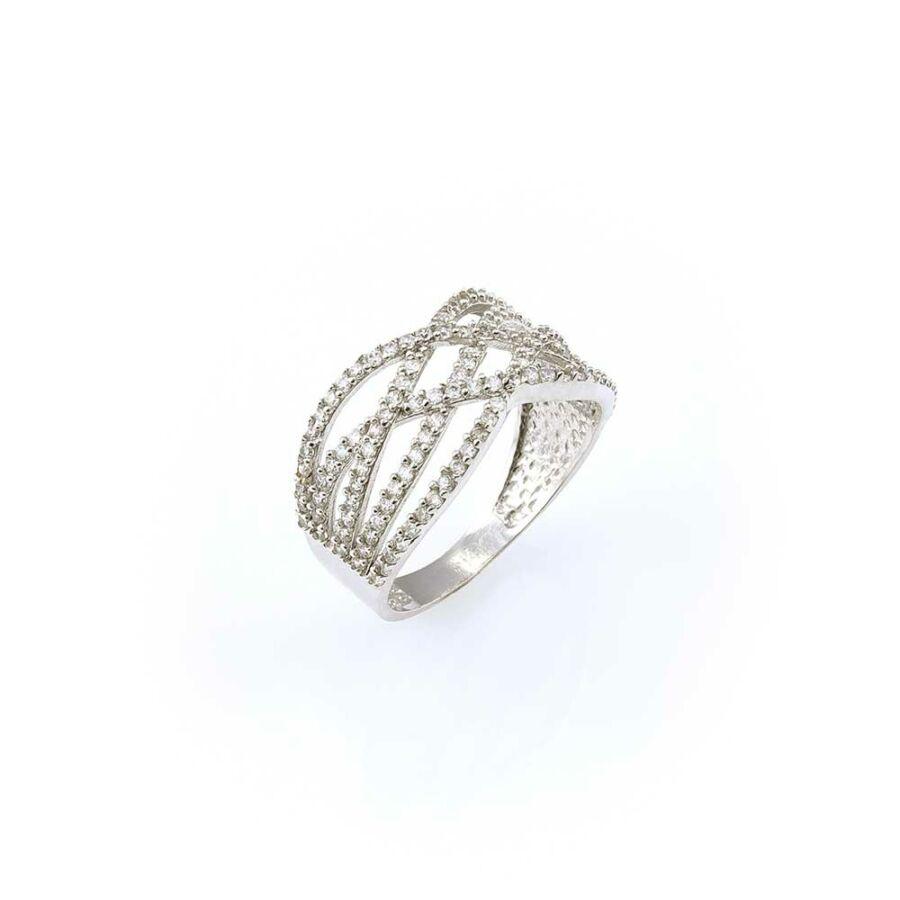 Elegáns fehér arany gyűrű összefonódó mintával