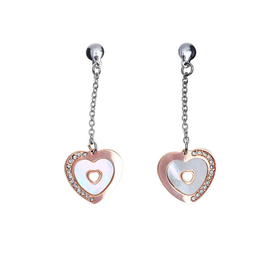 Cuore Perla Rosa' rozé-aranyozott és ródiumozott ezüst láncos, lógós fülbevaló