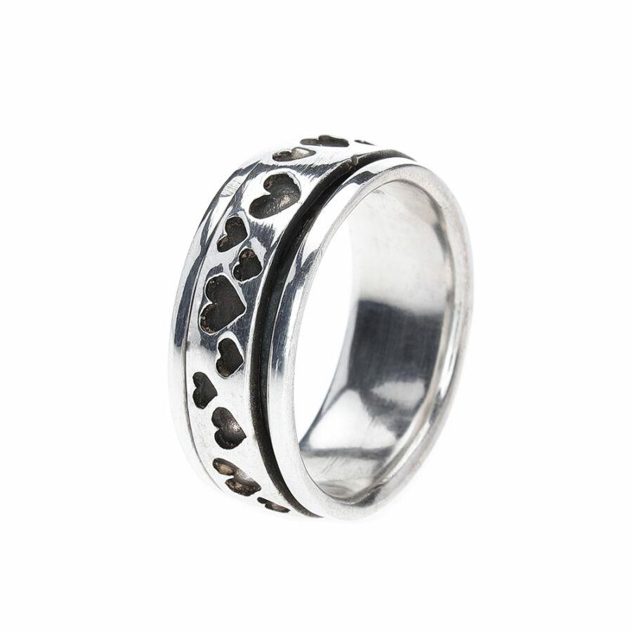 Banyak Hati sok szíves ezüst gyűrű forgós antikolt gyűrű