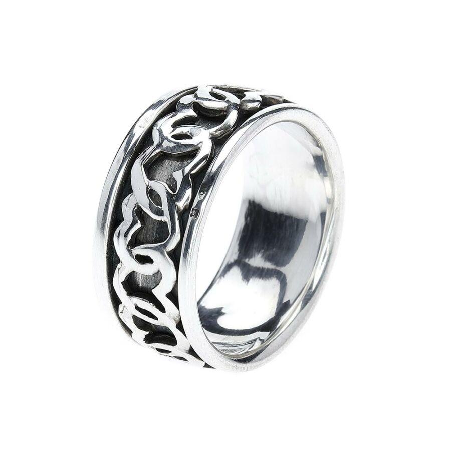 Perasaan Hati szívfüzér-mintás, antikolt forgós 925‰ ezüst gyűrű