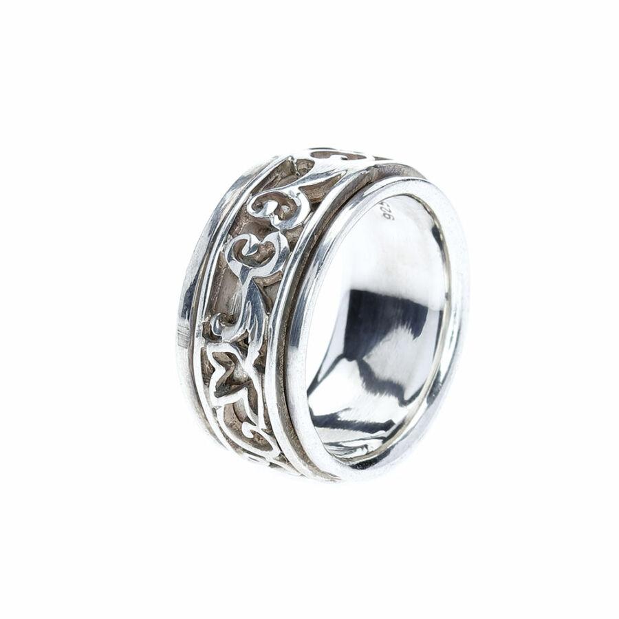 Lili Putih (indonéz: fehér liliom) antikolt ezüst forgós gyűrű