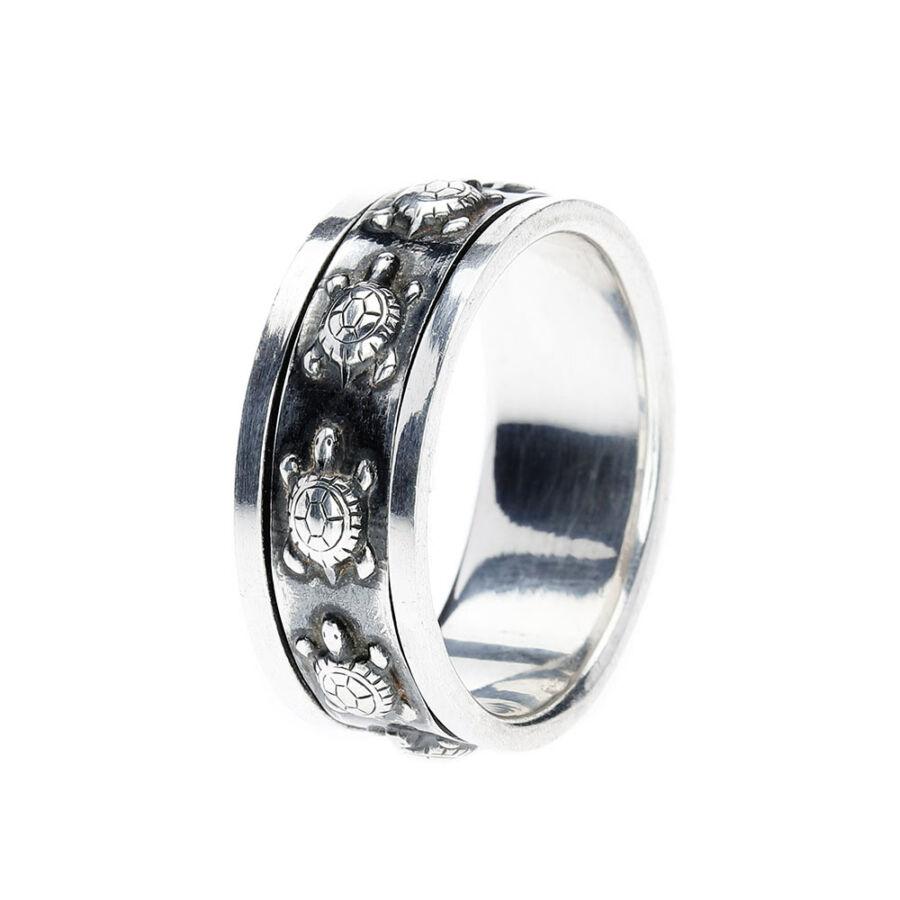 Kura-Kura teknősmintás 925‰ ezüst forgós gyűrű