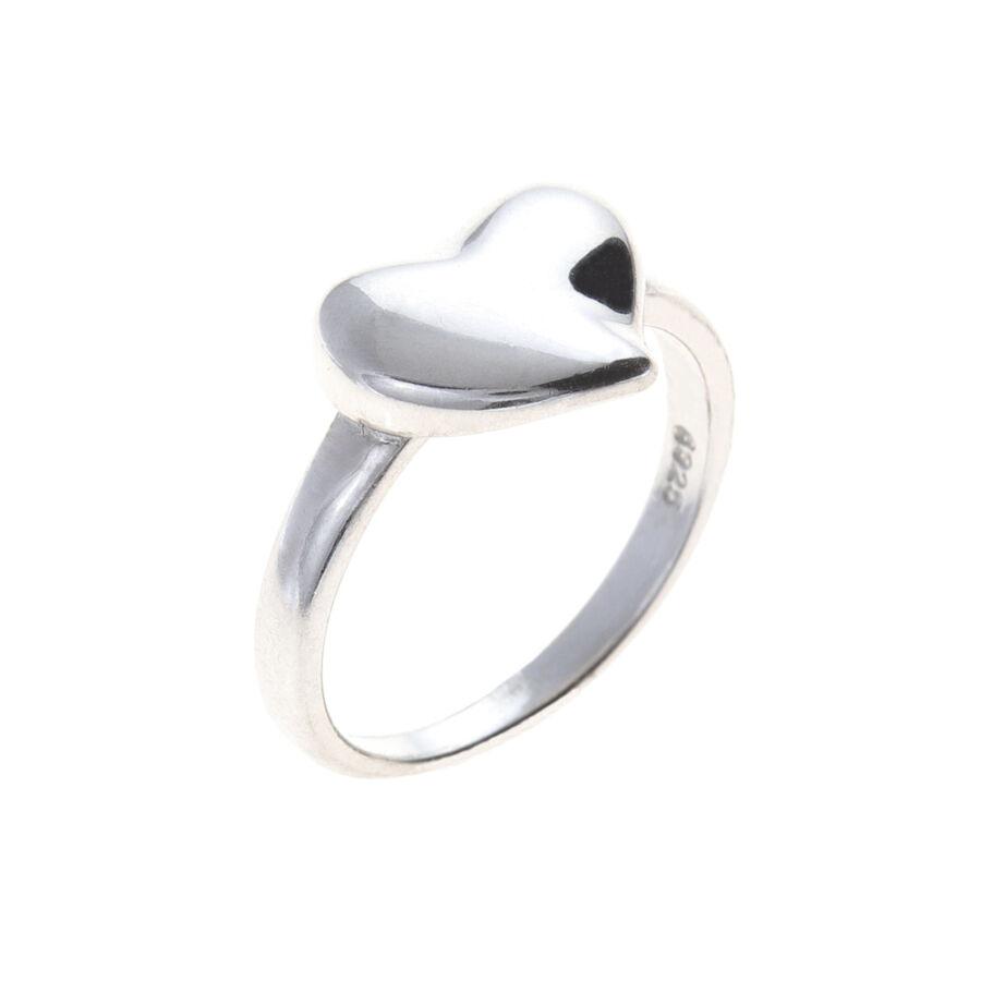 Ródiumozott, kő nélküli ezüst, fényes, domború szíves gyűrű