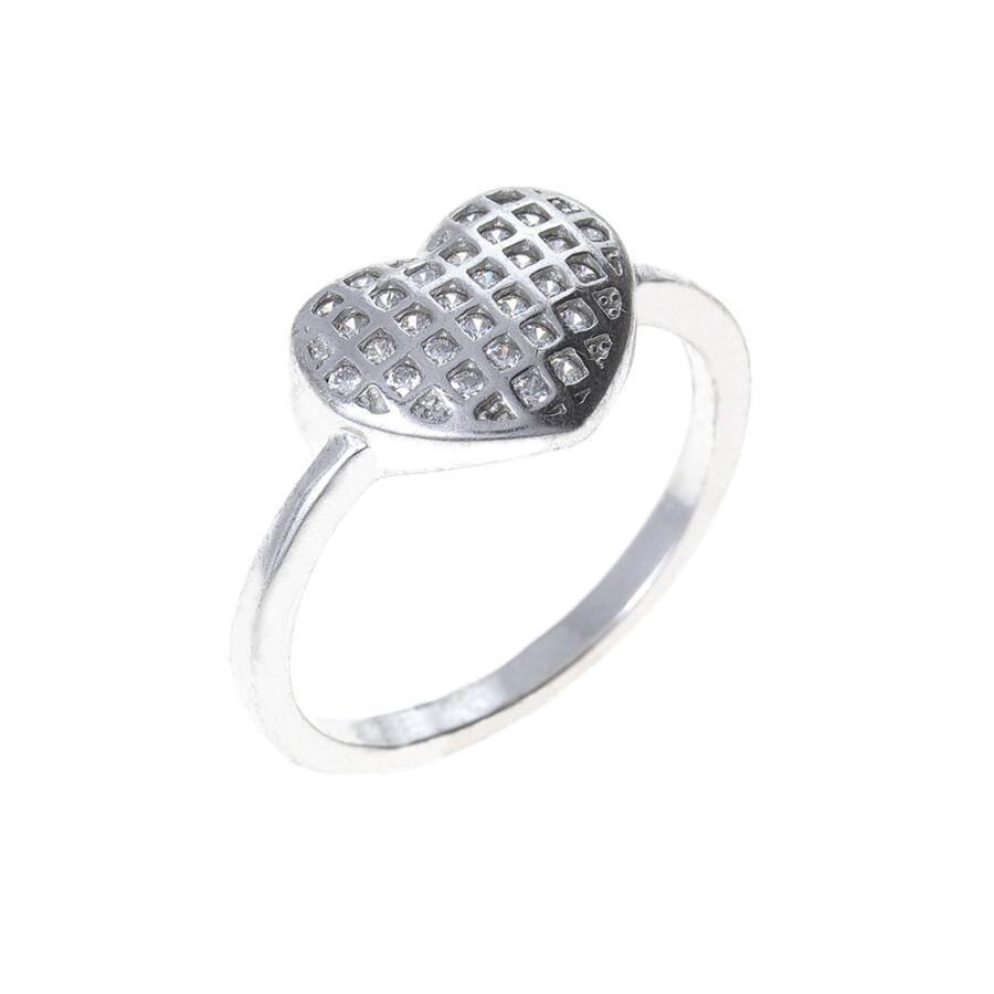 Ródiumozott ezüst kockás, szíves köves gyűrű