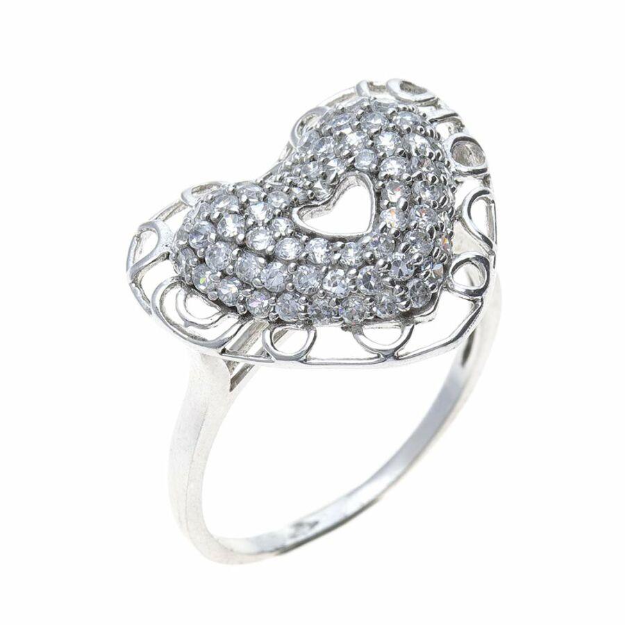Ródiumozott, sokköves ezüst áttört szíves gyűrű fehér cirkónia kövekkel