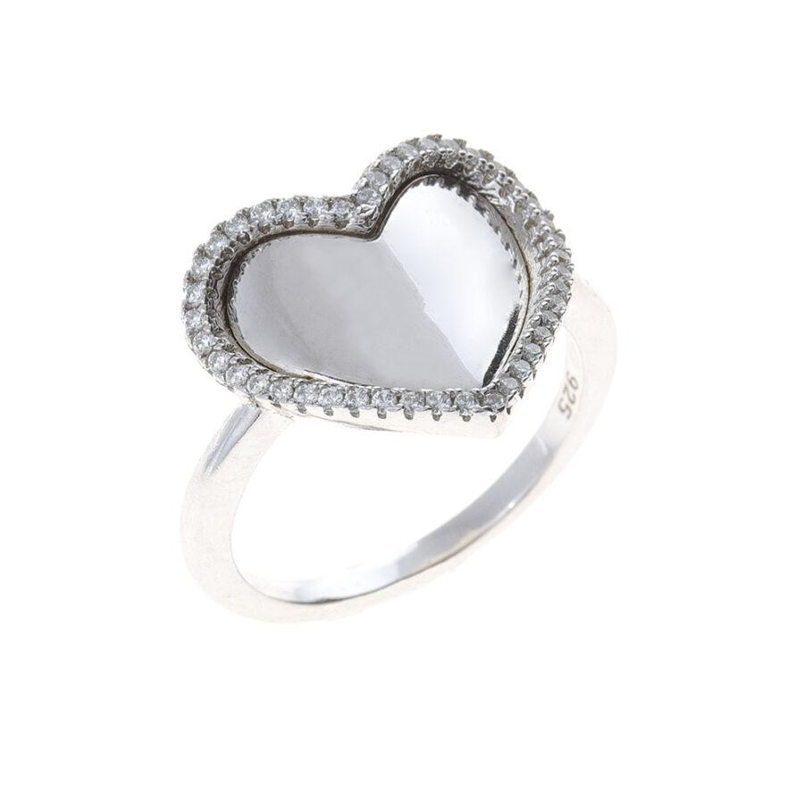 Ródiumozott, sokköves ezüst, fényes szíves gyűrű