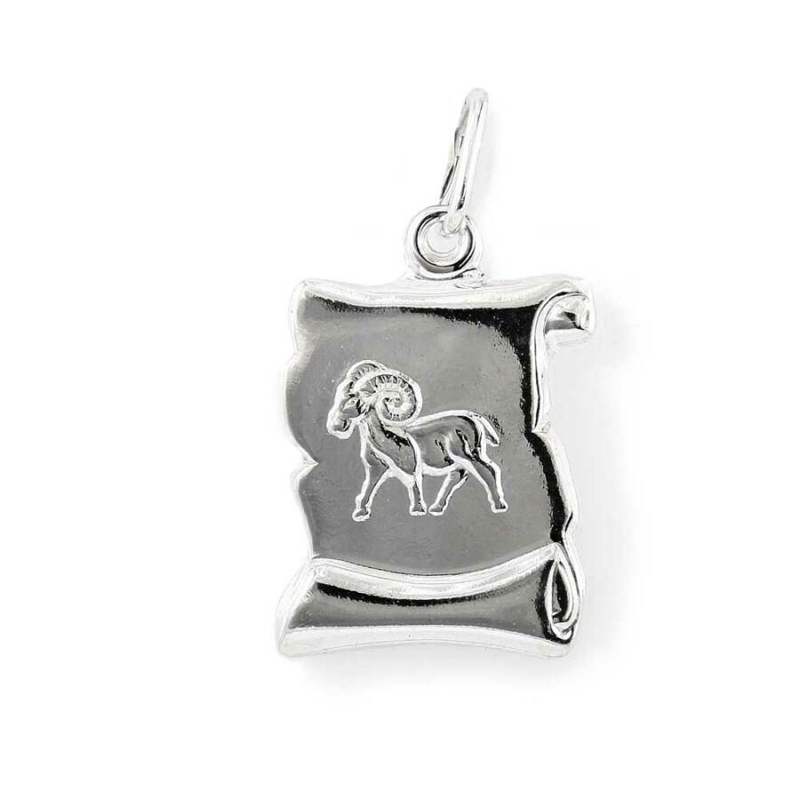 """""""Aries"""" (Kos) ezüst pergamen lapmedál"""