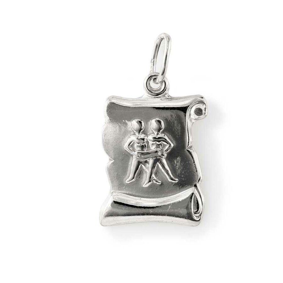 """""""Gemini"""" (Ikrek) ezüst pergamen lapmedál"""
