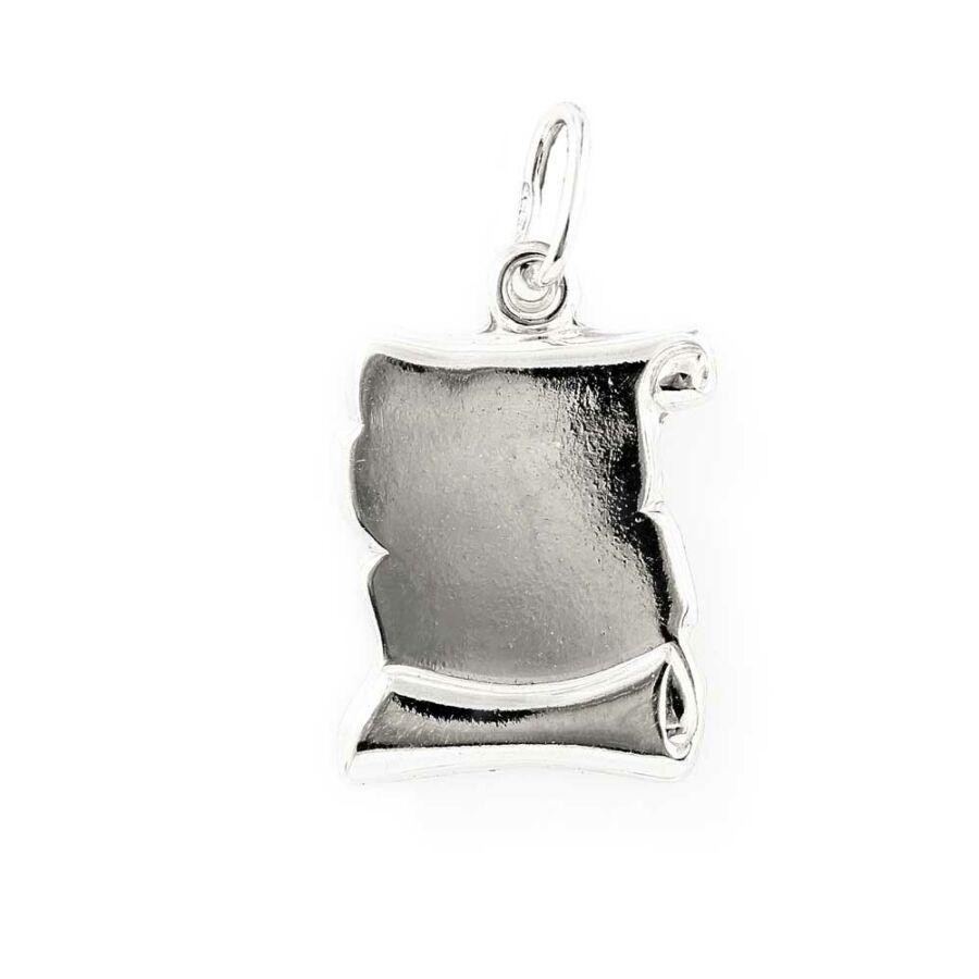 Közepes, véshető ezüst  pergamen lapmedál