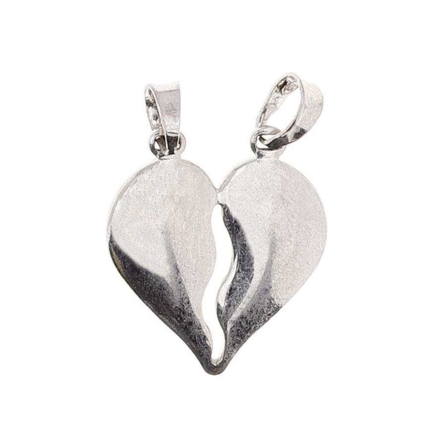 Ródiumozott ezüst törhető szív medál